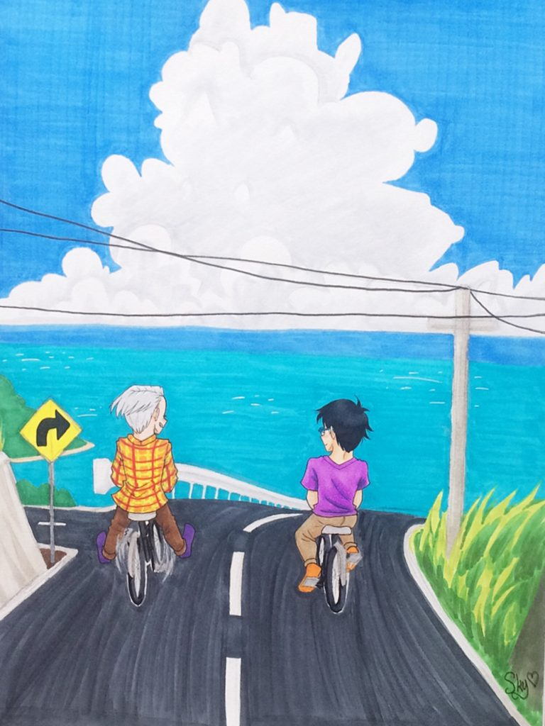 a drawing of two dudes biking by the sea
